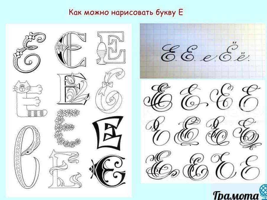 Как написать буквы Е и Ё