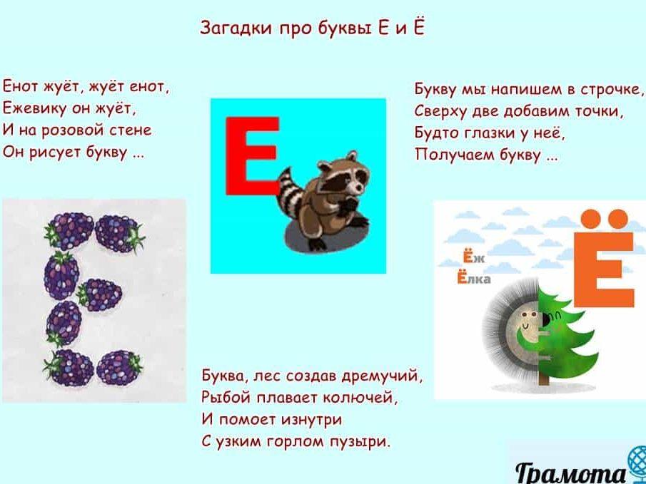Загадки о буквах Е и Ё