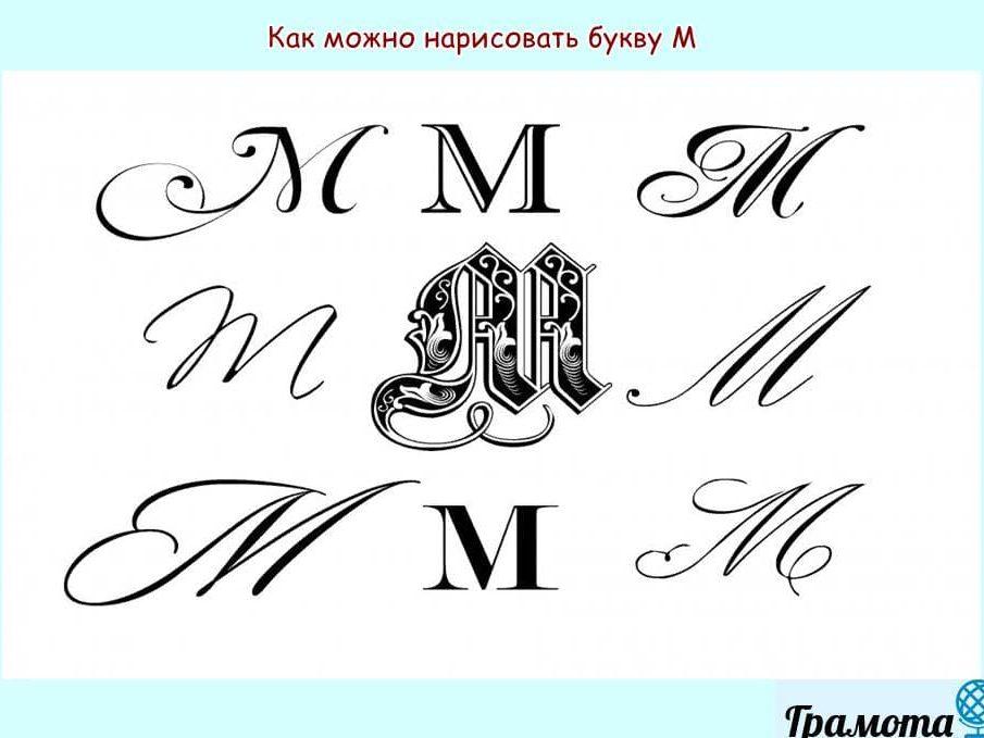 Как красиво написать букву М