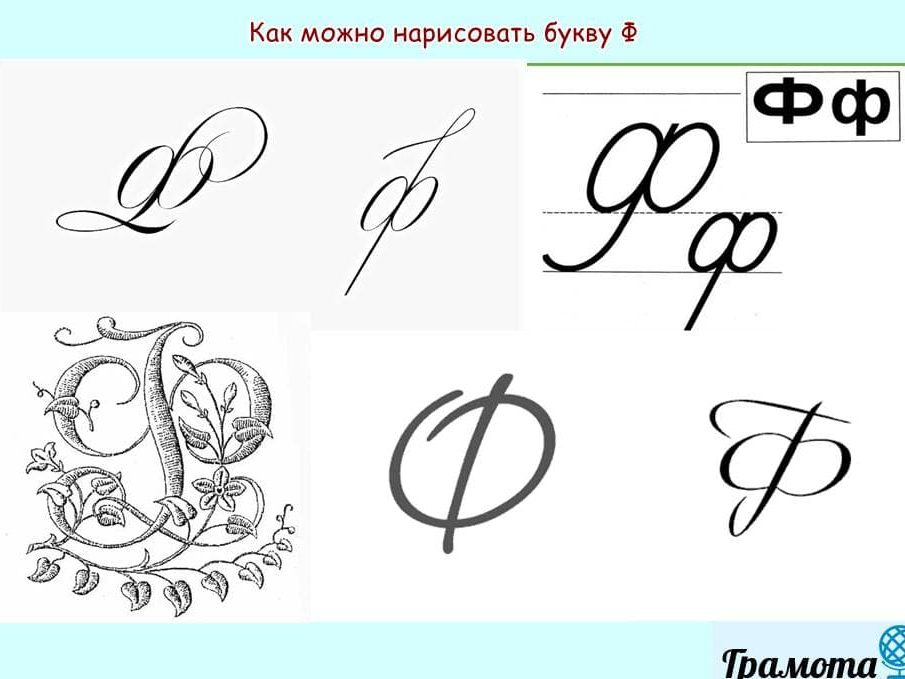 Как красиво писать букву Ф