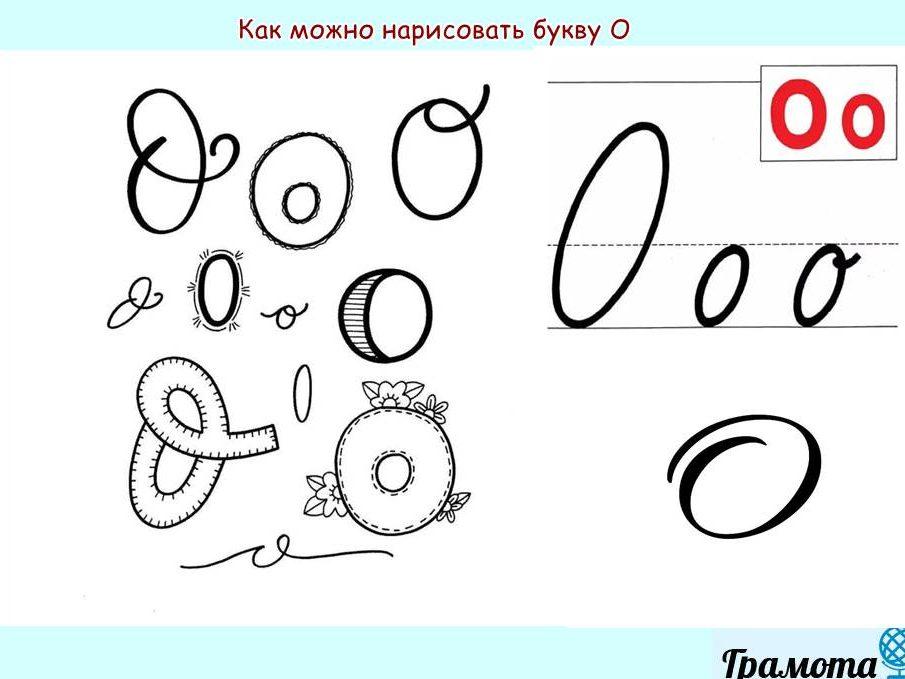 Как написать букву О