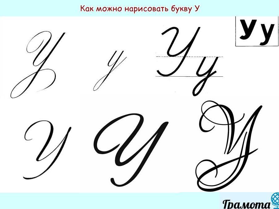 Как написать букву У